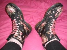 Some Floral Doc Martin's AND pink ribbon shoe laces
