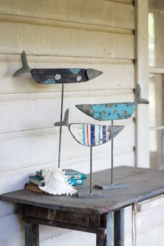 Kalalou Painted Wooden Fish On Rustic Stands - Set Of 3