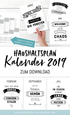 Calendar with budget. The year 2019 will be sparkling: Calendar with budget to check off at the bottom. Changing work in the home, which only takes about 15 minutes, help you to take up the daily fight with the chaos. # plan to print out - Daily Calendar, Kids Calendar, Calendar Ideas, December Calendar, Monthly Planner Printable, Printable Calendar Template, Daily Printable, Diy Journal Books, Perfect Planner