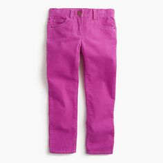 A pint-sized version of our women's cord, just for her. These popular slim pants now come in extra-stretchy corduroy that's supercomfy—so she looks cute without feeling fidgety (aka you're both happy!). <ul><li>Cotton/spandex.</li><li>Internal adjustable elastic waistband sizes 2-14.</li><li>Belt loops.</li><li>Zip fly.</li><li>Sizes 2-7 have snap closure; sizes 8-16 have button closure.</li><li>Traditional 5-pocket styling.</li><li>Machine wash.</li><li>Import.</li></ul>