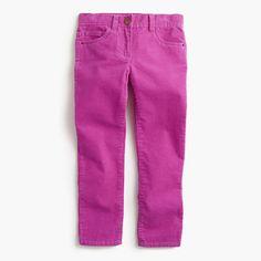 A pint-sized version of our women's cord, just for her. These popular slim pants now come in extra-stretchy corduroy that's supercomfy—so she looks cute without feeling fidgety (aka you're both happy!). <ul><li>Cotton/spandex.</li><li>Internal adjustable elastic waistband sizes 2-14.</li><li>Belt loops.</li><li>Zip fly.</li><li>Sizes 2-7 have snap closure; sizes 8-16 have button closure.</li><li>Traditional 5-pocket styling.</li><li>Machine wash.</li><li>Import.</li></ul>