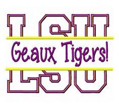 INSTANT DOWNLOAD LSU Geaux Tigers Split applique by KatelynsDesign, $3.50