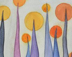 Aquarelle de fleurs lunatique peinture  rose et orange