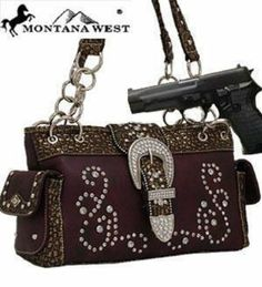 AwesomeNice Purple Western Rhinestone Buckle Conceal and Carry Purse