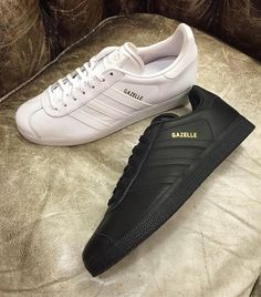Keep it clean and classic with the premium leather Gazelle in all white or all black. In store and online now sizes 7 - 11 including half sizes priced 75.  #adidas #adidasoriginals #gazelle #classic #clean #threestripes #allwhite #tripleblack #snaeakers #igsneakercommunity #philipbrownemenswear