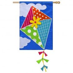 welcome guests to your porch or garden in charming style with this lovely flag featuring a flying kite applique
