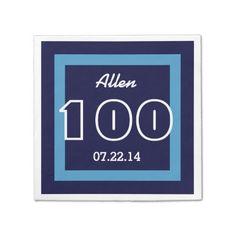 100th Birthday Modern Geometric V21 NAVY and WHITE Paper Napkin