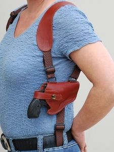 "Leather Cross Harness Shoulder Holster for 2-3"" or Snub Nose Revolvers(53-2HOR) Loading that magazine is a pain! Excellent loader available for your handgun Get your Magazine speedloader today! http://www.amazon.com/shops/raeind"