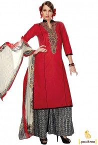 Viva N Diva red color cotton palazzo salwar kameez with dupatta make you look different than others. Pavitraa Fashion provide catchy palazzo suits at cheap cost. #salwarsuit, #palazzosalwarsuit more: http://www.pavitraa.in/store/palazzo-salwar-suits/
