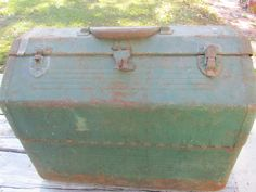 Vintage metal tool box, Green metal box, Fishing box, Tackle Box, Simonsen Metal Products Co., Type 11 Class 1 Size 2, Made in USA by KarensChicNShabby on Etsy