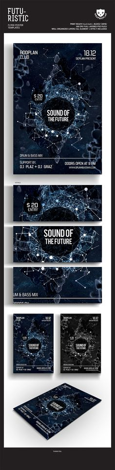 Futuristic Flyer/Poster by graphic plan, via Behance