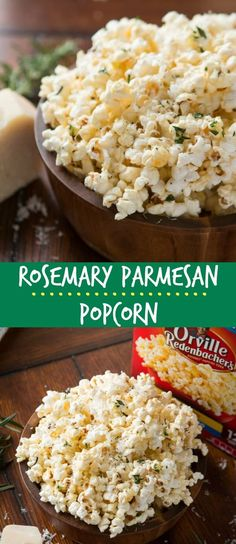 Rosemary Parmesan Popcorn - Oh Sweet Basil Everyone goes nuts for our Marshmallow Popcorn so it was high time to find the best savory popcorn recipe, and this rosemary parmesan popcorn is it! Popcorn Mix, Gourmet Popcorn, Flavored Popcorn, Popcorn Bowl, Best Popcorn, Popcorn Kernels, Popcorn Snacks, Butter Popcorn, Party Snacks