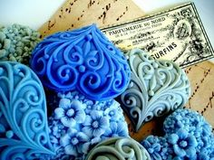 Soap hearts :: Carved or molded doesn't matter - they are too pretty to use... Like the idea and love the  shapes...