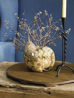 Cut a dried gourd cut in half, fill it with natural wool, and use the wool to support decorative branches. To see more of this photo and find out more about the items shown, turn to page 158 of our September 2014 issue or page 67 of our online Craft Fair, http://www.countrysampler.com/craftfair/flipbook.php?issue_code=C0914