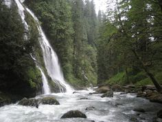 "Boulder River Waterfall, 1hr 45min from Klahanie, 2.5 to 8.6 mi roundtrip thru ""old growth"" forest"