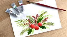 Create me-time and paint to clear your mind. Start with watercolor painting with the right supplies, get a free supplies guide here: Painted Christmas Cards, Watercolor Christmas Cards, Christmas Drawing, Diy Christmas Cards, Christmas Paintings, Watercolor Cards, Xmas Cards, Christmas Art, Simple Watercolor