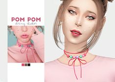 Pom Pom String Choker • New mesh • Category: necklace (women) • Age: teen / young adult / adult / elder • 3 swatches • Suggested by @dddelphox Download: SimFileShare