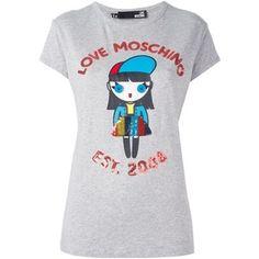 러브 모스키노 장식 조각이 장식 된 T 셔츠