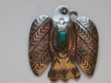 Pre 1935 Fred Harvey Era Signed  Navajo Thunderbird Turquoise Coil Silver Pin / Pendant