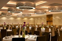 Love the look of The Westin Galleria Dallas' contemporary round chandeliers in the setup for this event.