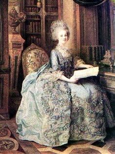 Marie Antoinette wearing a dress created by her dressmaker, Rose Bertin.