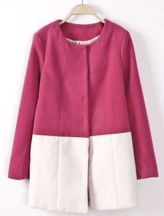 Rose Red Long Sleeve Contrast White Woolen Coat US$53.44