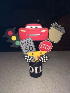 Ideas For Cars De Disney Invitaciones Race Car Birthday, Race Car Party, Third Birthday, Disney Cars Party, Disney Cars Birthday, Car Themed Parties, Cars Birthday Parties, Birthday Ideas, Car Centerpieces