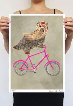 Schilderij van de Terriër van Yorkshire, print van origineel schilderij door Coco de Paris: Yorkshire terriër op fiets door circuszoo op Etsy https://www.etsy.com/nl/listing/384561436/schilderij-van-de-terrier-van-yorkshire