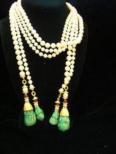 66f0d1056da641 Rare!! two (2) vintage haute couture pearl gripoix glass lariat necklace