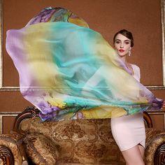 2017 Women Scarf Shawl Spring Autumn Female Printed Silk Scarves Summer 100% Mulberry Silk Beach Cover-ups 175*110cm