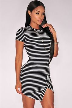 Women T Shirt Dress New Fashion Women Casual Dresses Short Sleeve Stripe  O-Neck Cross Jag Mini Sport Dress Split Club Dress 38d0d84e6dd9