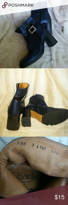 Shellys London ankle boot blue leather inside/out UK size 3 equivalent to 5 Shellys London Shoes Ankle Boots & Booties