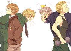 Headcanon that England and Prussia always get into really stupid fights and it takes Germany and America to separate them. - Hetalia