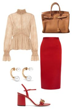 """""""Untitled #1065"""" by ednatchiwana on Polyvore featuring Roland Mouret, Gucci, Exclusive for Intermix, Chloé and Hermès"""