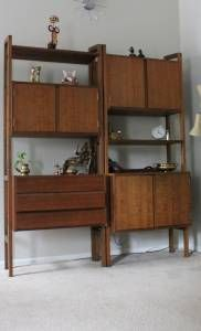 Mid century modern modular shelving room divider