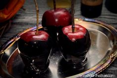 Poisoned Apples - Carmel, hot fudge, black food coloring (recipe included)