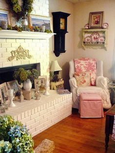 Country cottage girl shabby chic living room with brick mantel.