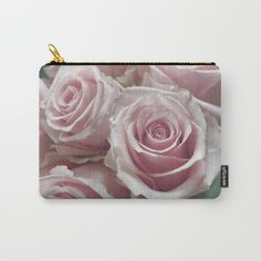 Soft Pink Rose Bouquet Carry-All Pouch Small Size
