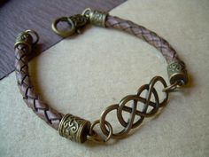 Infinity Leather Bracelet with Antique by UrbanSurvivalGearUSA