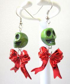 Zombie Green Sugar Skull Earrings & Red Bow by sweetie2sweetie, $7.49