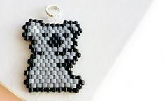 Seed Bead Koala Charm or Necklace Pendant, Kawaii Jewelry Component, Brick Stitch Bead Weaving Accessory