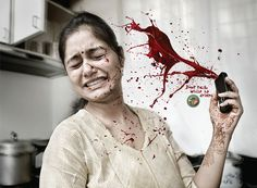 A great contrast between the image of a peaceful woman and the blood. Definitely grinds in the message of the terrible consequences of being on your 0hone while driving.