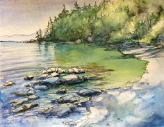 Sandy beach watercolour and ink Watercolor And Ink, Coastal, Paintings, Beach, Artist, Artists, Painting, Draw, Portrait