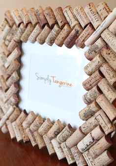 Wine Cork Picture Frame. I'm going to make one for mom with all her corks.