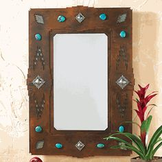 Desert Diamond Mirror – Large - Western Home Decor Living Room Western Style, Rustic Western Decor, Western Decorations, Southwestern Home Decor, Southwestern Decorating, Southwest Style, Bedroom Themes, Bedroom Decor, Mirrors