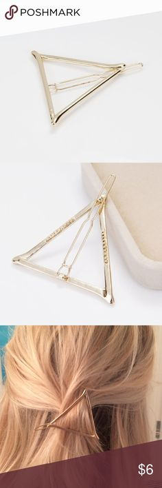 Soft gold triangle hair barrette NEW Add me to a BUNDLE for 25% OFF!! Brand new so cute open delicate triangle hair barrette. Accessories Hair Accessories
