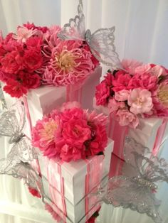 Feminine floral 'gift boxes' for a special party or baby shower