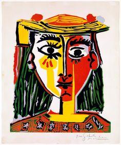 Pablo Picasso, Busto de mujer con sombrero, 1962, Grabado a la gubia en cinco colores con matriz de linoleo, 64 x 53cm, Puebra de artista, Barcelona, Museu Picasso - ©Succession Picasso, by SIAE 2011