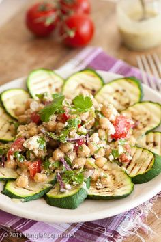 Griddled courgette carpaccio with chickpea salsa - Simone's Kitchen