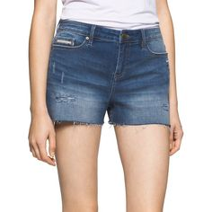Calvin Klein Jeans Women's Whiskered Denim Shorts ($30) ❤ liked on Polyvore featuring shorts, halsey wash, calvin klein jeans, calvin klein jeans shorts, frayed denim shorts, cuffed shorts and jean shorts